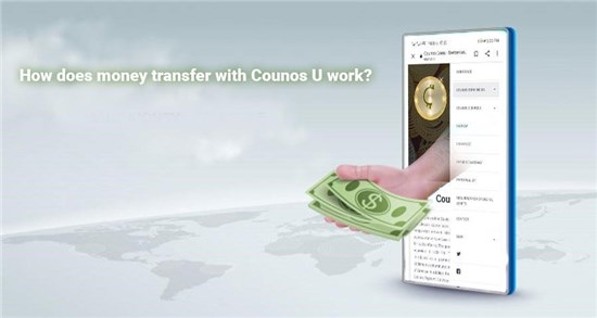 Transferring money with Counos U is as simple as it is ingenious. For example, we take a person who wants to deliver USD from the USA to Dubai