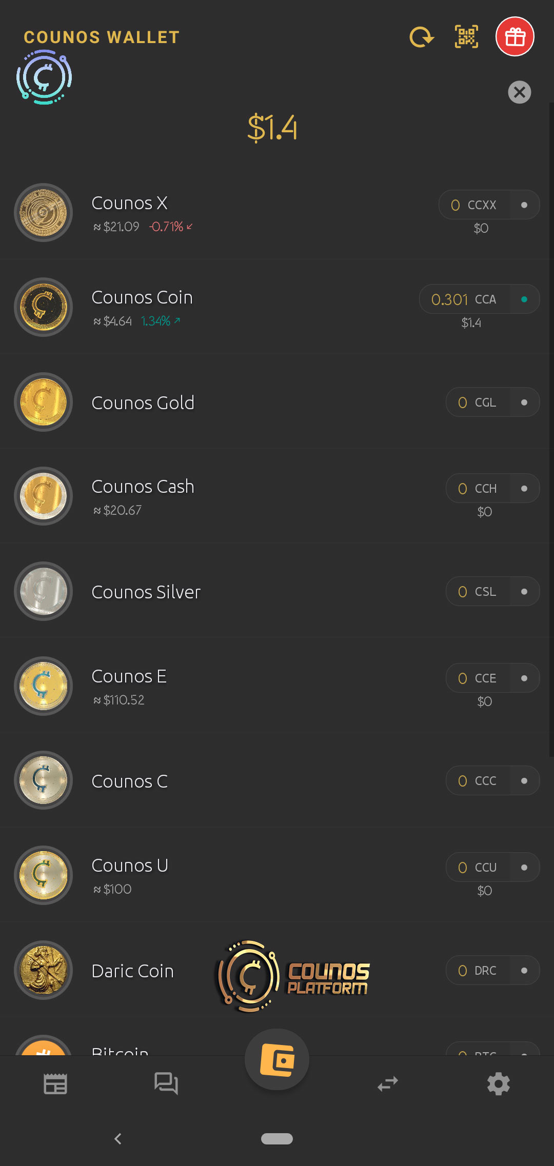 this main button will take you to the main page of the Counos         Mobile Wallet 1.9.0 in which you can see the list of all cryptocurrencies and also the balance for each coin and all the total balance in U.S. dollar